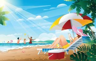 persone che si godono le vacanze estive in spiaggia vettore