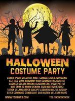 festa in costume di halloween per bambini davanti al poster del cimitero vettore