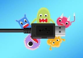 un cavo di connessione USB nero con un computer antivirus vettore