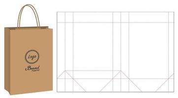 confezione di sacchetti di carta fustellati e mockup di sacchetti 3d vettore