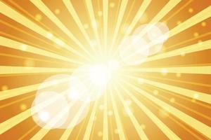 illustrazione del raggio dello sprazzo di sole su sfondo arancione vettore