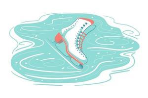 pattino da ghiaccio retrò sulla pista graffiata. sfondo di neve congelata con segni di pattinaggio. attività sportiva stagione invernale, pattinaggio artistico, carta simbolo delle vacanze. illustrazione vettoriale isolato su sfondo bianco.