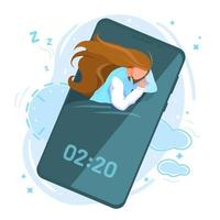 Fasi del ciclo del sonno umano sano vettore illustrazione piatta su sfondo bianco. ragazza che dorme con lo smartphone. concetto di dipendenza dai social media. schermo del telefono cellulare app sveglia intelligente. software gadget