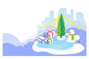 capodanno e natale scena all'aperto. sfondo di paesaggio urbano invernale con pupazzo di neve e albero di natale, giftbox sulla pista di pattinaggio. carta vacanze stagione fredda. vista isometrica, illustrazione della pagina di prestito vettoriale. vettore