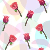 modello senza cuciture delle rose rosse con sfondo di gocce di colore bianco. amore, romantico, ornamento floreale. vettore di natura matrimonio ripetendo stampa. carta da parati floreale, trama tessile moda. effetto luce acquerello