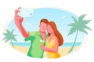 spiaggia coppia selfie piatto illustrazione vettoriale isolato. vacanza, vacanza, luna di miele, concetto di turismo. banner di viaggio estivo. amici design moderno stile di vita all'aperto. mare tropicale su sfondo bianco.