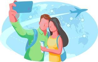 in tutto il mondo illustrazione piatta. coppia selfie viaggio volo carta mappa del mondo. viaggio romantico, vacanza, concetto di vacanza. banner aereo viaggio luna di miele. poster di agenzia di viaggi isolato su sfondo bianco vettore