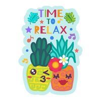 tempo per rilassarsi simpatico adesivo con ananas vettore