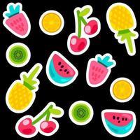 set di adesivi colorati di doodle di frutta. vettore