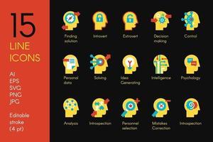 La mente umana elabora le icone piane di vettore messe