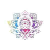 fiore di loto con disegno geometrico illustrazione lineare del vettore