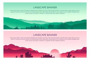set di modelli di banner piatto vettoriale paesaggio