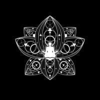 meditazione zen femminile del modello di logo di yoga del loto vettore