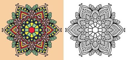 Doodle mandala pagina del libro da colorare per adulti e bambini vettore