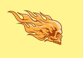 Illustrazione fiammeggiante della mascotte di logo di vettore del cranio