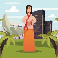 illustrazione di vettore del manifesto del fondo del punto di riferimento della donna di singapore