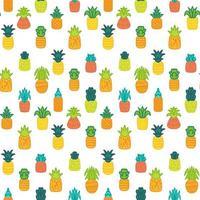 modello senza cuciture disegnato a mano di vettore di ananas