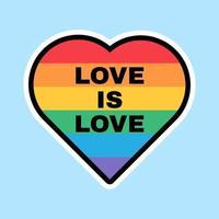 lgbt love label pride flag colorato a forma di cuore vettore