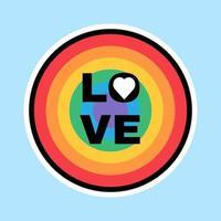 segno lgbtq nei colori del mese dell'orgoglio dell'etichetta arcobaleno vettore