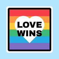 segno lgbt, bandiera dell'orgoglio con il cuore sullo sfondo vettore