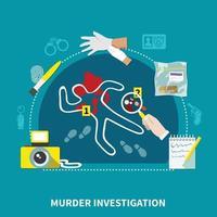 composizione piatta detective vettore