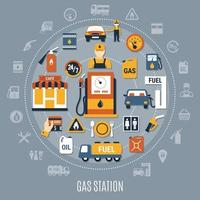 illustrazione vettoriale di composizione pompa carburante piatto