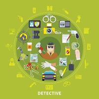 composizione rotonda detective vettore