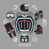 concetto di design di attrezzi da motociclista vettore
