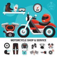 negozio di moto e illustrazione di servizio vettore