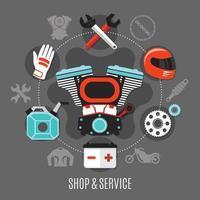 negozio di biciclette e illustrazione di servizio vettore