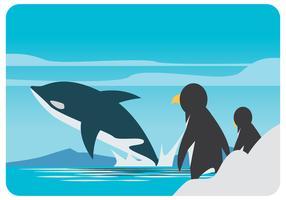 Vettore di pinguini e balene