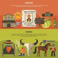 attributi degli sceriffi e stendardi del rodeo vettore