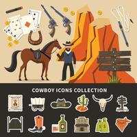 collezione di icone di cowboy vettore
