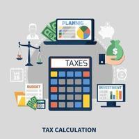 calcolo dell'imposta composizione piatta vettore