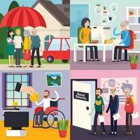 illustrazione di vettore di concetto di progettazione ortogonale di sicurezza sociale