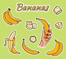 insieme di vettore delle banane gialle del fumetto.