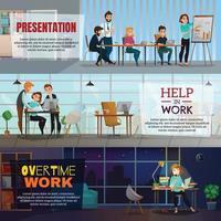illustrazione vettoriale di banner orizzontale multitasking