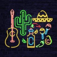 Vector Messico elementi al neon