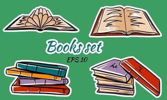 set di libri isolati in stile cartone animato. vettore