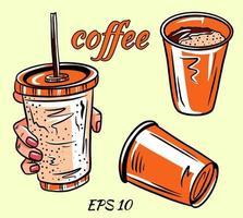 set vettoriale di caffè. caffè in mano.