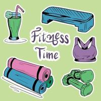 una serie di elementi necessari per l'allenamento fitness vettore