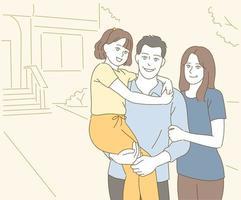 tre bambini felici, padre, madre. illustrazioni di disegno vettoriale stile disegnato a mano.