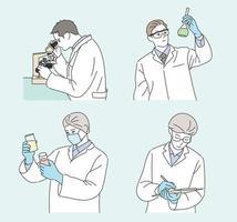 un ricercatore in abito bianco sta conducendo un esperimento. illustrazioni di disegno vettoriale stile disegnato a mano.
