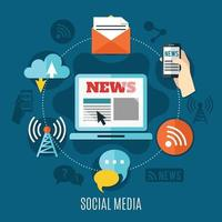 concetto di design dei social media vettore