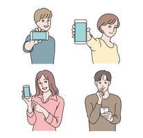 persone in possesso di telefoni cellulari. illustrazioni di disegno vettoriale stile disegnato a mano.