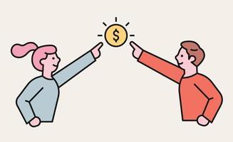 la donna e l'uomo allungano le dita verso il denaro. illustrazione di vettore minimo di stile di design piatto.