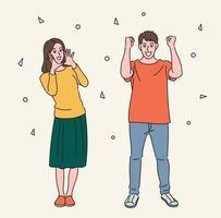 uomini e donne esultano. illustrazioni di disegno vettoriale stile disegnato a mano.