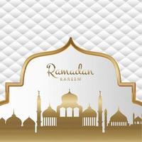 sfondo decorativo in oro e bianco ramadan kareem vettore