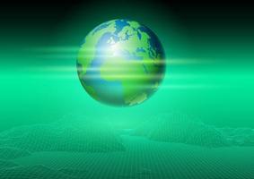 paesaggio wireframe e design del globo del mondo vettore