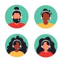 persone con le cuffie. servizio clienti, assistente, supporto, concetto di call center. illustrazione vettoriale. vettore